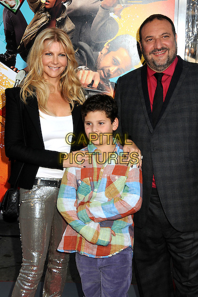"KARYN FIELDS, JOEL SILVER & son.""The Losers"" Los Angeles Premiere held at Grauman's Chinese Theatre, Hollywood, California, USA, .20th April 2010..half length grey gray suit plaid checked check black trainers tie trousers red shirt beard facial hair jacket wife husband couple family kid child silver gold sequined sequin shiny leggings .CAP/ADM/BP.©Byron Purvis/AdMedia/Capital Pictures."