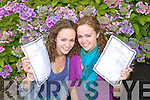 Twins Nicola and Hayley Moore from Kilfinora Tralee Leaving certificate students from Mercy Mounthawk, Tralee on Wednesday after getting the exact same Leaving Cert Results