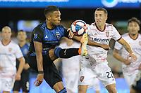 SAN JOSE, CA - JULY 06: Danny Hoesen #9, Aaron Herrera #22 during a Major League Soccer (MLS) match between the San Jose Earthquakes and Real Salt Lake on July 06, 2019 at Avaya Stadium in San Jose, California.