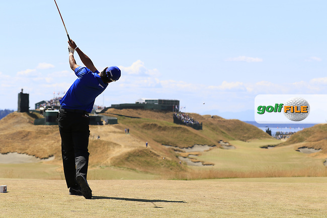Hideki Matsuyana (JPN) tees off the 10th tee during Saturday's Round 3 of the 2015 U.S. Open 115th National Championship held at Chambers Bay, Seattle, Washington, USA. 6/20/2015.<br /> Picture: Golffile | Eoin Clarke<br /> <br /> <br /> <br /> <br /> All photo usage must carry mandatory copyright credit (&copy; Golffile | Eoin Clarke)