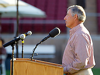 Stanford University athletics director Bob Bowlsby, gives a brief speech during the Stanford Football Kick Off Dinner at Stanford Stadium on Thursday, August 25, 2011. ( © Norbert von der Groeben )