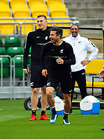 Kosta Barbarouses and Chris Wood (left). All Whites training for 2018 FIFA World Cup Russia qualifier against Peru at Westpac Stadium in Wellington, New Zealand on Friday, 10 November 2017. Photo: Dave Lintott / lintottphoto.co.nz