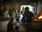 Young people being given 'hammer on' lessons in Blacksmithing in the Blacksmith Building, on the 2nd day of the 4th Annual Summer Hoot Festival held at the Ashokan Center, Olivebridge, NY, on Saturday, August 27, 2016. Photo by Jim Peppler; Copyright Jim Peppler 2016.