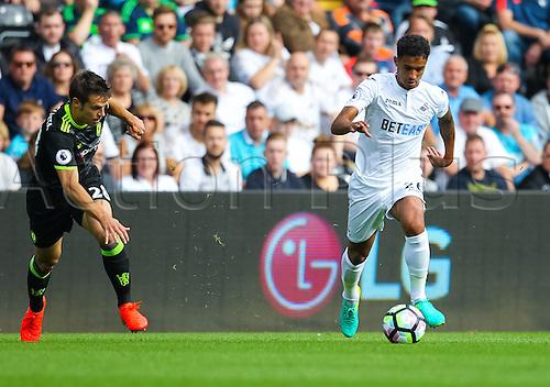 11.09.2016. Liberty Stadium, Swansea, Wales. Premier League Football. Swansea versus Chelsea. Swansea City's Kyle Naughton takes on Chelsea's César Azpilicueta