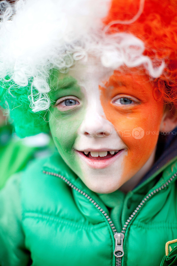 17/3/2011. ST PATRICKS DAY DUBLIN. Conor Burke is pictured at Christ Church enjoying the Dublin St Patricks Day Parade. Picture James Horan/Collins Photos