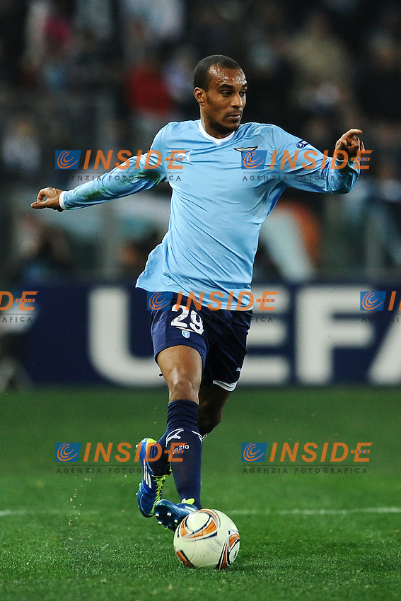 Abdoulay Konko Lazio.Roma 16/02/2012 Stadio Olimpico.Football Calcio 2011/2012 Europa League Round of 16.Lazio Vs Atletico Madrid 1-3.Foto Insidefoto Guido Aubry