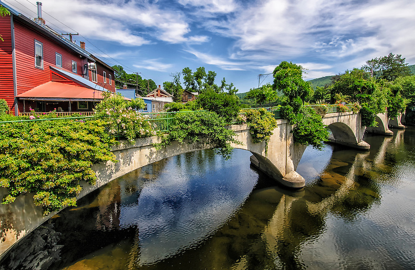 "The ""bridge of flowers,"" located on the Deerfield River in Shelburne Falls, Massachusetts"