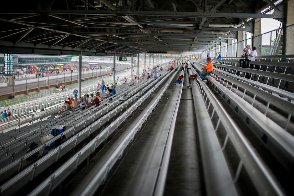 Fans sit in the stands along the front stretch before the Brickyard 400 on Sunday, July 26, 2015, at the Indianapolis Motor Speedway. (Photo by James Brosher)