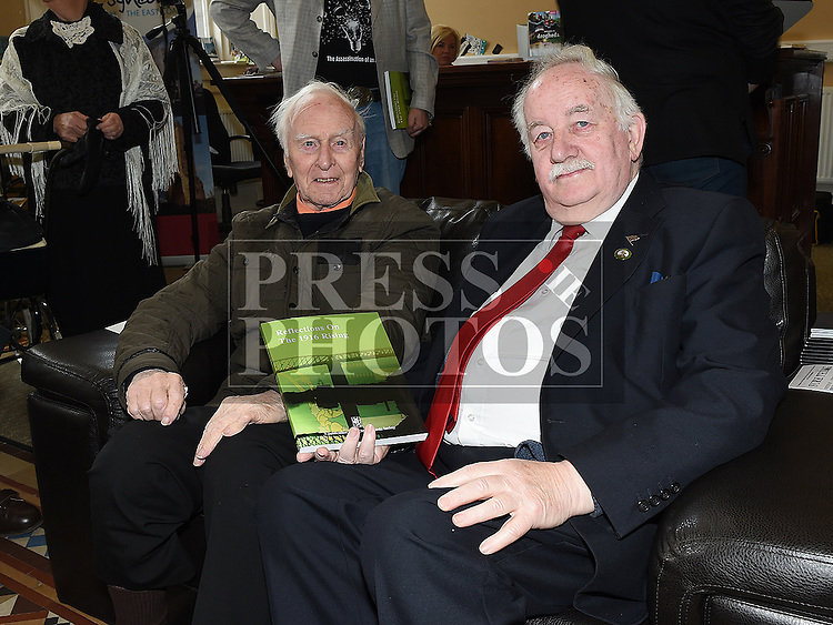 Christy Collins and Donncha MacRaghnaill at the launch of the book Refelections on the 1916 Rising held in the Tholsel. Photo:Colin Bell/pressphotos.ie