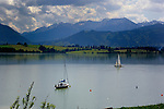Two yachts sailing on Forggensee lake close to Neuschwansein castle. Bavaria, South Germany.