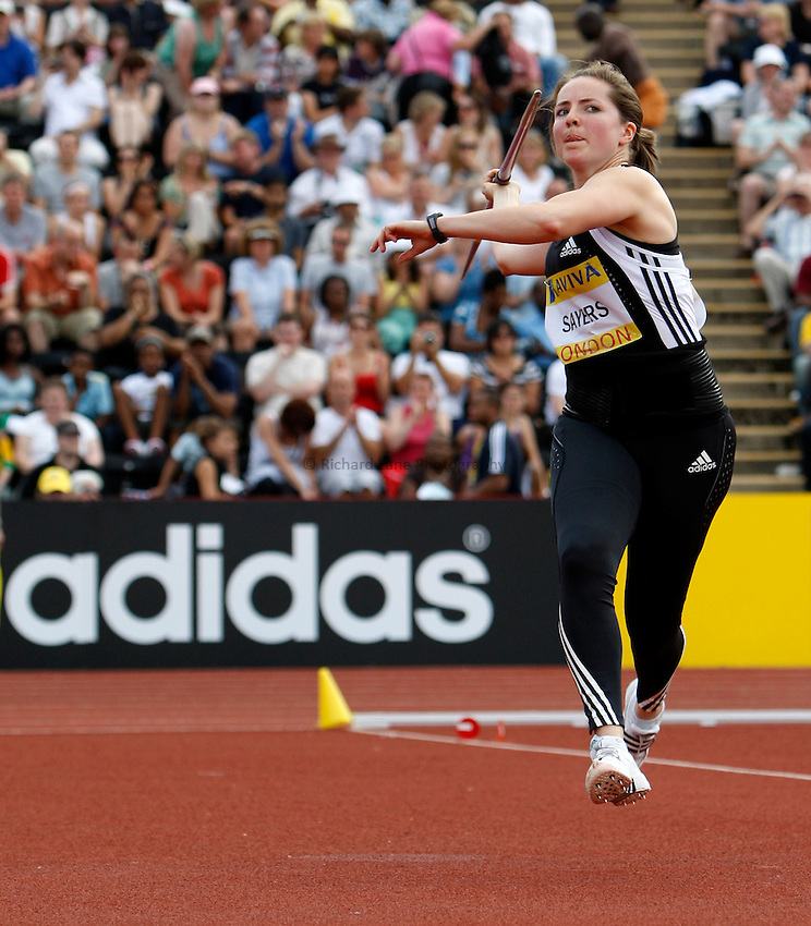Photo: Richard Lane/Richard Lane Photography. .Aviva London Grand Prix, Crystal Palace. 26/07/2008. Great Britain's Goldie Sayers in the women's javelin.