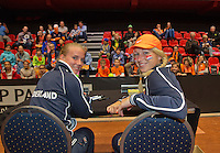 April 18, 2015, Netherlands, Den Bosch, Maaspoort, Fedcup Netherlands-Australia, Kids pressconference with Richel Hogenkamp and Michaëlla Krajicek (R)<br /> Photo: Tennisimages/Henk Koster