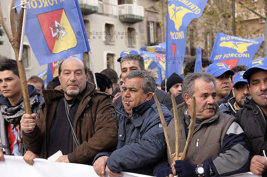 March of the so called Movement of the Pitchforks coming from all over Sicily in Palermo..Marcia di protesta del movimento dei forconi a Palermo con delegazioni provenienti da tutta la Sicilia.