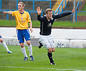 Dundee's Jim McAlister start his celebrations after he knocks the ball into the net but his goal was waved offside by Assistant Referee Morag Pirie.
