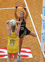 13.10.2013 Silver Fern Leana de Bruin in action during the Silver Ferns V Australian Diamonds Netball Series played at the AIS Arena in Canberra Australia. Mandatory Photo Credit ©Michael Bradley.