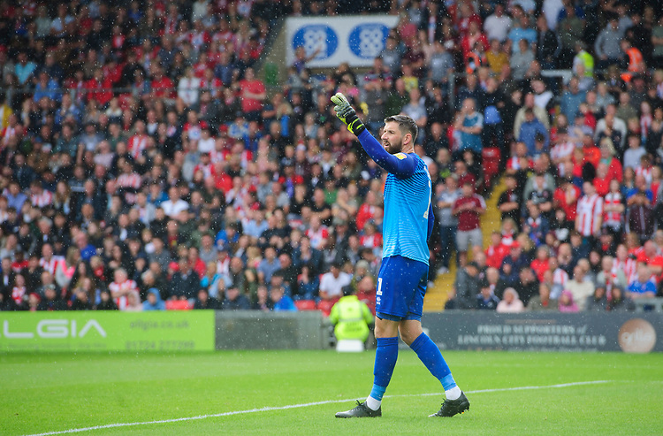 Lincoln City's Josh Vickers<br /> <br /> Photographer Chris Vaughan/CameraSport<br /> <br /> The EFL Sky Bet League One - Lincoln City v Fleetwood Town - Saturday 31st August 2019 - Sincil Bank - Lincoln<br /> <br /> World Copyright © 2019 CameraSport. All rights reserved. 43 Linden Ave. Countesthorpe. Leicester. England. LE8 5PG - Tel: +44 (0) 116 277 4147 - admin@camerasport.com - www.camerasport.com