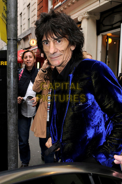 Ronnie Wood spotted leaving a building in Central London, England..September 7th, 2011.rolling stones half length blue black velvet jacket .CAP/IA.©Ian Allis/Capital Pictures.