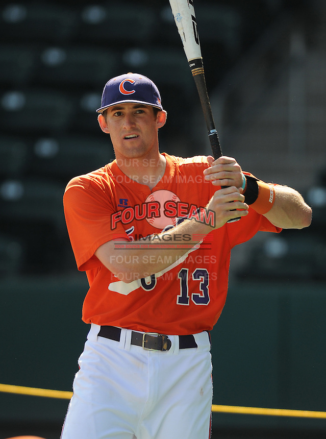 Shortstop Brad Miller (13) of the Clemson Tigers in a game against the Michigan State Spartans on Sunday, Feb. 27, 2011, at Fluor Field in Greenville, S.C. Photo by Tom Priddy/Four Seam Images