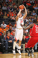 March 1, 2011 - Charlottesville, Virginia-USA; Virginia Cavaliers forward Will Sherrill (22) shoots the ball in front of North Carolina State Wolfpack forward C.J. Leslie (5) during an NCAA basketball game at the John Paul Johns arena. Virginia won 69-58. Photo/Andrew Shurtleff (Credit Image: © Andrew Shurtleff/ZUMApress.com)