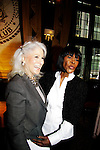 Jamie DeRoy poses with Cecily Tyson (Guiding Light) who announced the nominations for the 64th Annual Outer Critics Circle nominees on April 22, 2014 at Manhattan's Friars Club, New York City, New York. (Photo by Sue Coflin/Max Photos)
