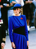Princess Diana looks on as her husband Prince Charles lays a wreath at the Tomb of the Unknowns in observance of Veterans Day at Arlington National Cemetery in Arlington, Virginia on November 11, 1985.<br /> Credit: Arnie Sachs / CNP