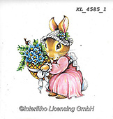 EASTER, OSTERN, PASCUA, paintings+++++,KL4585/1,#e#, EVERYDAY ,rabbit,rabbits ,sticker,stickers,