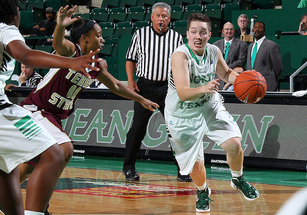 Denton, TX - NOVEMBER 12: Hannah Christian #00 of the University of North Texas Mean Green drives the ball in for a lay up against Texas State Bobcats at the Super Pit in Denton on November 12, 2012 in Denton, Texas. (Photo by Rick Yeatts)