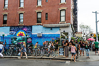 Brooklyn, NY 12 July 2015 - The busy Bedford Avenue subway station in Williamsburg Brooklyn