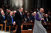 Former President George W. Bush walks to speak at the State Funeral for his father, former President George H.W. Bush, at the State Funeral at the National Cathedral, Wednesday, Dec. 5, 2018, in Washington. <br /> Credit: Alex Brandon / Pool via CNP
