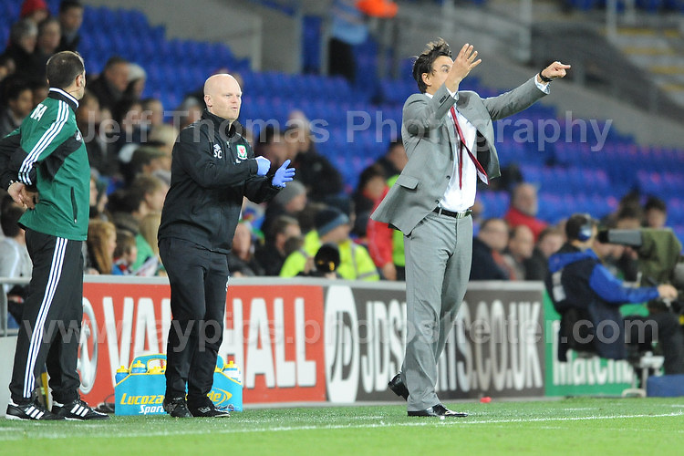 Cardiff City Stadium, Friday 11th Oct 2013. Here's what you should be doing shouts Wales manager Chris Coleman to his players during the Wales v Macedonia FIFA World Cup 2014 Qualifier match at Cardiff City Stadium, Cardiff, Friday 11th Oct 2014. All images are the copyright of Jeff Thomas Photography-07837 386244-www.jaypics.photoshelter.com