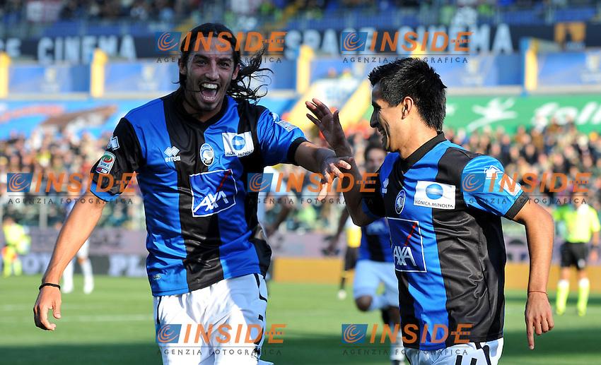 "Esultanza dopo il gol di Maximilano MORALEZ  (Atalanta) goal celebration.Parma 23/10/2011 Stadio ""Ennio Tardini"".Serie A 2011/2012.Football Calcio Parma Vs Atalanta.Foto Insidefoto Alessandro Sabattini."