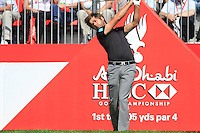 Robert Rock (ENG) in action on the 1st tee during Sunday's Final Round of the HSBC Golf Championship at the Abu Dhabi Golf Club, United Arab Emirates, 29th January 2012 (Photo Eoin Clarke/www.golffile.ie)