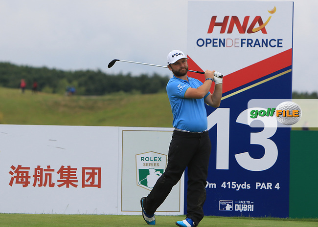 Andy Sullivan (ENG) on the 13th tee during Round 3 of the HNA Open De France  at The Golf National on Saturday 1st July 2017.<br /> Photo: Golffile / Thos Caffrey.<br /> <br /> All photo usage must carry mandatory copyright credit      (&copy; Golffile | Thos Caffrey)