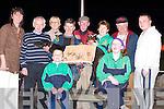CHAMPION: Champion dog Scartlea Rainbow, won the Sean Og Bar Final at Kingdom Greyhound Stadium, Tralee, on Thursday night, and his owner and trainer was presented with the winning trophy by Kit Ryan of Tralee Together Special Olympics. Sitting front: Maurice Moriarty and Mairead Farmer. Standing l-r: Jacinta McElligott, Frank Culloty, Margaret Gleasure, Raymond Fleming (Trainer), Patrick Fleming (Owner), Kit Ryan, Christy Murphy and John Moriarty..