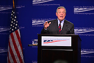 Washington, DC - January 24, 2017: U.S. Senator Richard Durbin speaks about Russian influence and interference in the 2016 presidential election at the Center for American Progress in the District of Columbia, January 24, 2017.  (Photo by Don Baxter/Media Images International)