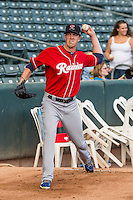 Tacoma Rainiers starting pitcher Tyler Olson (31) warms up before the game against the Salt Lake Bees in Pacific Coast League action at Smith's Ballpark on September 1, 2015 in Salt Lake City, Utah. The Bees defeated the Rainiers 10-1. (Stephen Smith/Four Seam Images)