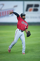 Billings Mustangs right fielder Satchel McElroy (14) throws to the infield during a Pioneer League game against the Idaho Falls Chukars at Melaleuca Field on August 22, 2018 in Idaho Falls, Idaho. The Idaho Falls Chukars defeated the Billings Mustangs by a score of 5-3. (Zachary Lucy/Four Seam Images)