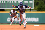 02 June 2016: Nova Southeastern's Jancarlos Cintron-Torres jumps out of the way of a batted ball while running to third base. The Nova Southeastern University Sharks played the Cal Poly Pomona Broncos in Game 11 of the 2016 NCAA Division II College World Series  at Coleman Field at the USA Baseball National Training Complex in Cary, North Carolina. Nova Southeastern won the semifinal game 4-1 and advanced to the championship series.