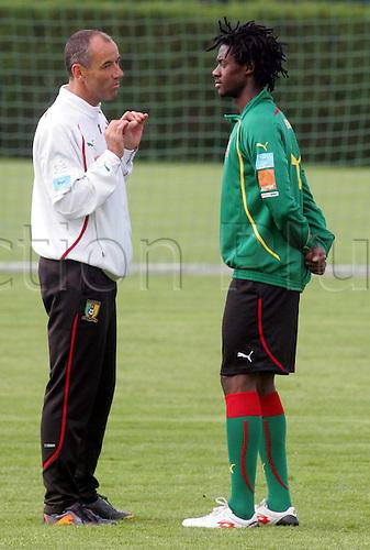 03 06 2010   Serbia Cameroon National Football team Training in Sports Center FK Partizan Teleoptik Paul Le Guen l Cameroon Head Coach with Nicolas Nkoulou r
