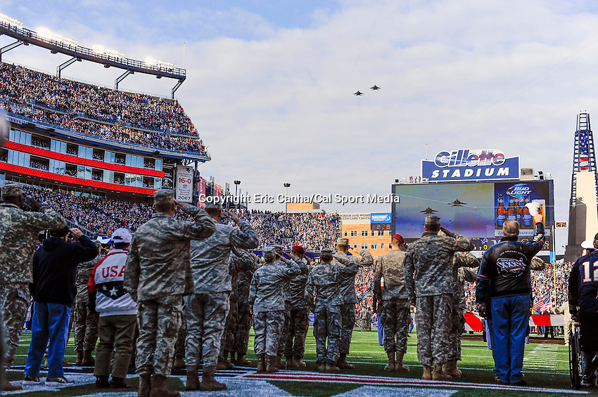 November 23, 2014 - Foxborough, Massachusetts, U.S.- A pair of  F15 fighter jets do a fly over a the opening of the NFL game between the Detroit Lions and the New England Patriots held at Gillette Stadium in Foxborough Massachusetts. The Patriots defeated the Lions 34-9. Eric Canha/CSM