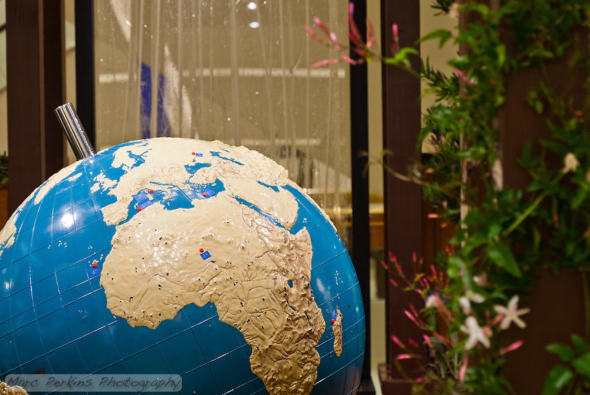 """A view of the braille world globe in Orange Coast College's Ornamental Horticulture Club's first-place winning garden installation at the 2012 South Coast Plaza Spring Garden Show in Costa Mesa, CA.  The theme for the show was """"healing gardens"""", and the OCC team installed a """"garden for the visually impaired.""""  The garden's centerpiece is a 1957 restored globe for the blind, with the world geography in exaggerated height to be sensed by the touch of blind people; the locations of plants in the garden was indicated in braille on the globe."""