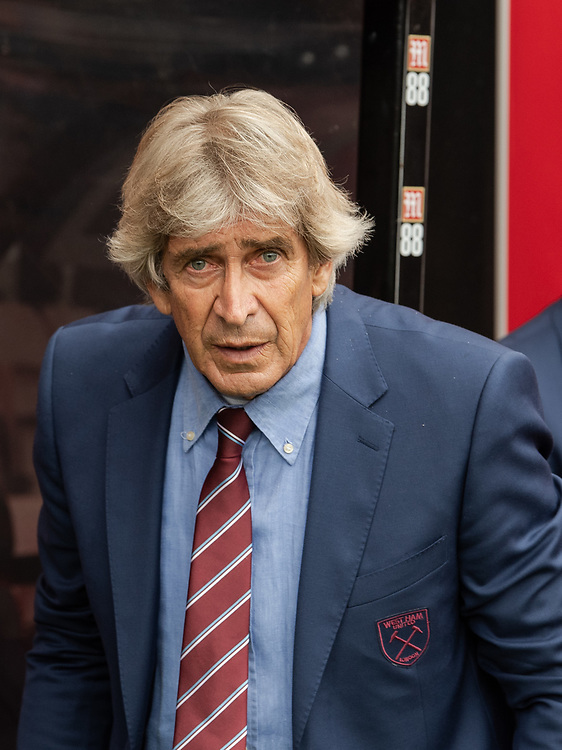 West Ham United manager Manuel Pellegrini  <br /> <br /> Photographer David Horton/CameraSport<br /> <br /> The Premier League - Bournemouth v West Ham United - Saturday 28th September 2019 - Vitality Stadium - Bournemouth<br /> <br /> World Copyright © 2019 CameraSport. All rights reserved. 43 Linden Ave. Countesthorpe. Leicester. England. LE8 5PG - Tel: +44 (0) 116 277 4147 - admin@camerasport.com - www.camerasport.com