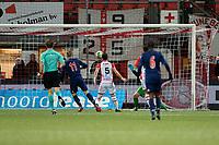 EMMEN - Voetbal, FC Emmen - Jong Ajax, Jens Vesting, Jupiler League, seizoen 2017-2018, 15-12-2017,  FC Emmen speler Veendorp scoort in eigen doel 0-1
