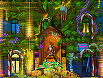 The colourful light projections on old GPO building in Martin Place, Sydney, NSW, Australia. during the lead up to Christmas.