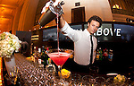 Mixologist pouring a cocktail at a reception prior to the awards dinner.