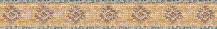 """5 3/8"""" Phoenix border, a hand-cut stone mosaic, shown in tumbled Giallo Reale, Salmon Moss,and Rosa Bordeaux."""