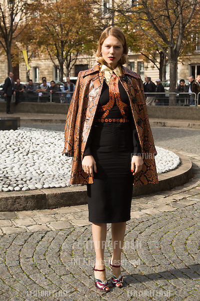 Lea Seydoux attend Miu Miu Show Front Row - Paris Fashion Week  2016.<br /> October 7, 2015 Paris, France<br /> Picture: Kristina Afanasyeva / Featureflash