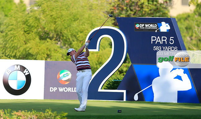 Jamie Donaldson (WAL) on the 2nd tee during Round 1 of the DP World Tour Championship at the Earth course,  Jumeirah Golf Estates in Dubai, UAE,  19/11/2015.<br /> Picture: Golffile | Thos Caffrey<br /> <br /> All photo usage must carry mandatory copyright credit (&copy; Golffile | Thos Caffrey)