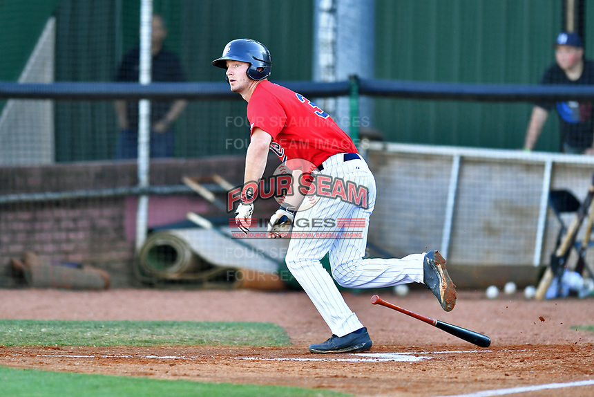 Elizabethton Twins first baseman J.J. Robinson (35) runs to first base during a game against the Pulaski Yankees at Joe O'Brien Field on June 27, 2016 in Elizabethton, Tennessee. The Yankees defeated the Twins 6-4. (Tony Farlow/Four Seam Images)