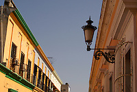 Facades of restored nineteenth century buildings in old Mazatlan, Sinaloa, Mexico